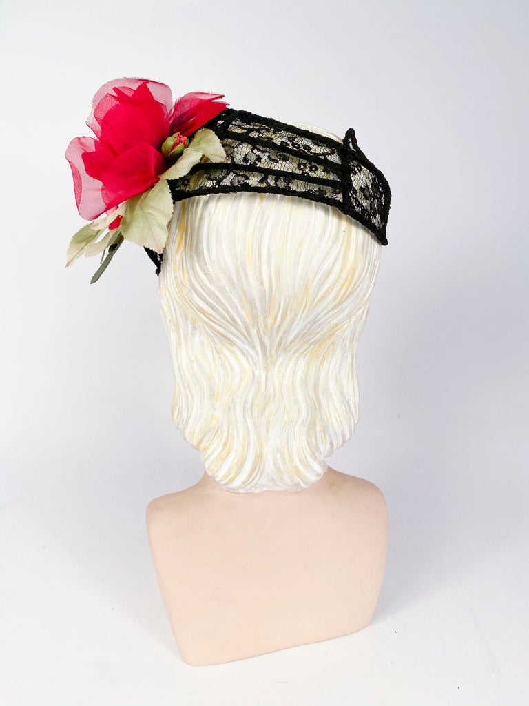 Women's 1950s Black Lace Cocktail Hat with Rhinestone and Rose Accents For Sale