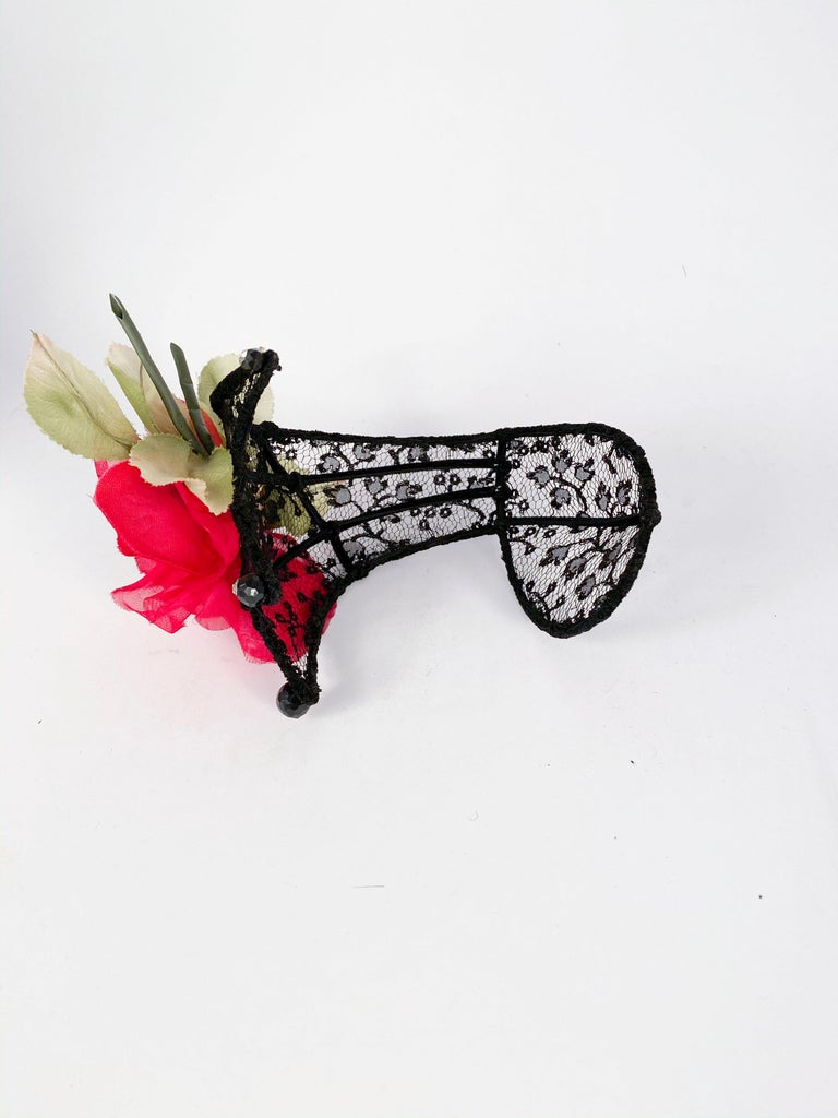 1950s Black Lace Cocktail Hat with Rhinestone and Rose Accents For Sale 2