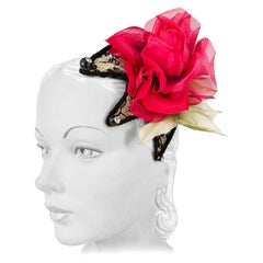 1950s Black Lace Cocktail Hat with Rhinestone and Rose Accents
