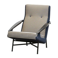 1950s Black Lacquered Wood, New Upholstery Lounge Chair by Claude Vassal