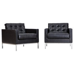 1950s Black Leather Pair of Lounge Chairs by Florence Knoll