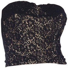 1950S Black & Nude Silk Lace Strapless Bustier From Paris