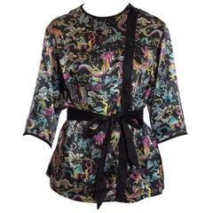 1950S Black & Pink Rayon Cotton Satin Chinese Dragon Print Bed Jacket Top