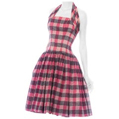 1950S Black & Pink Silk/Cotton Blend Plaid Fit Flare Halter Dress With Boning
