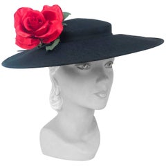1950s Black Raw Silk Picture hat with Silk Handmade Flower