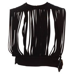 1950S Black Rayon Crepe Cage Basket Weave Strap Top