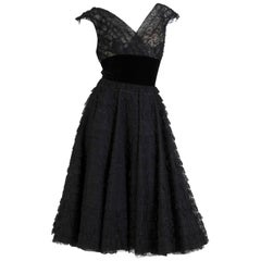1950s Black Rayon & Silk Lace Ruffled Fit & Flare Swing Skirt Cocktail Dress