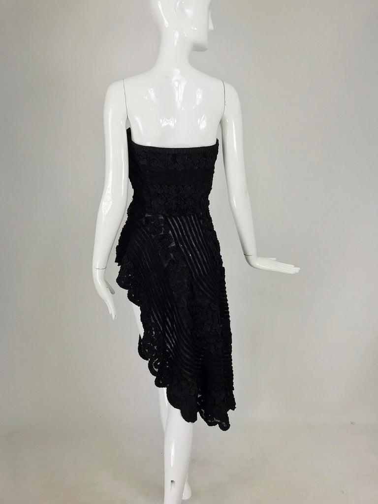 1950s Black Ribbon Work Strapless Asymmetrical Dress  For Sale 6