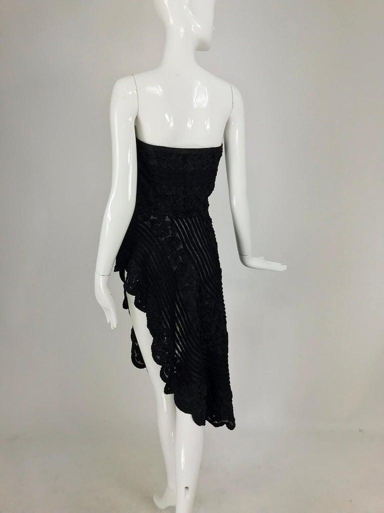 1950s Black Ribbon Work Strapless Asymmetrical Dress  For Sale 8