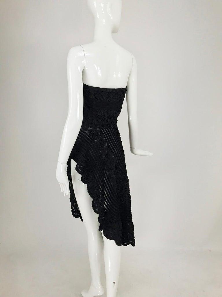 1950s Black Ribbon Work Strapless Asymmetrical Dress  For Sale 9