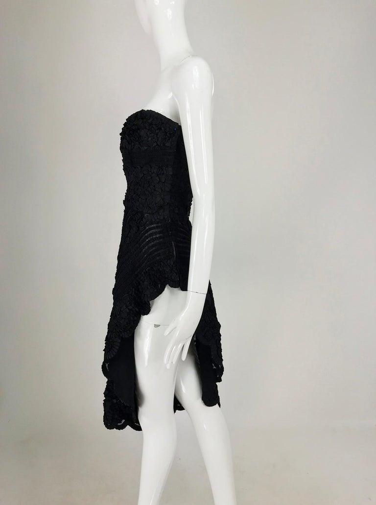 1950s Black Ribbon Work Strapless Asymmetrical Dress  For Sale 11