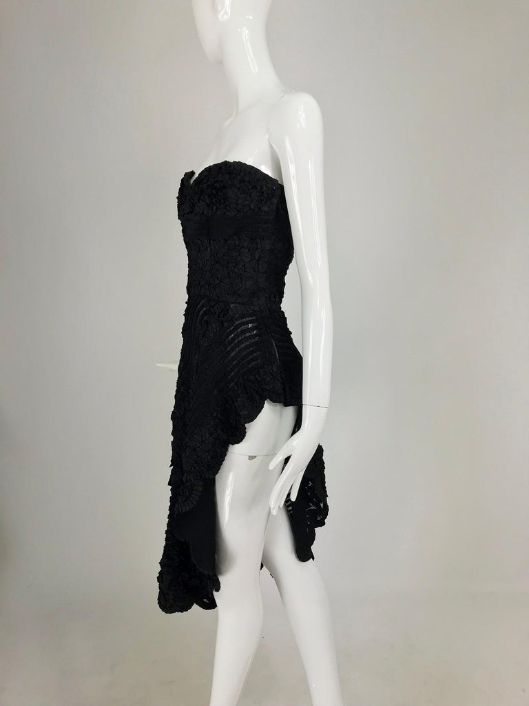 1950s Black Ribbon Work Strapless Asymmetrical Dress  For Sale 12