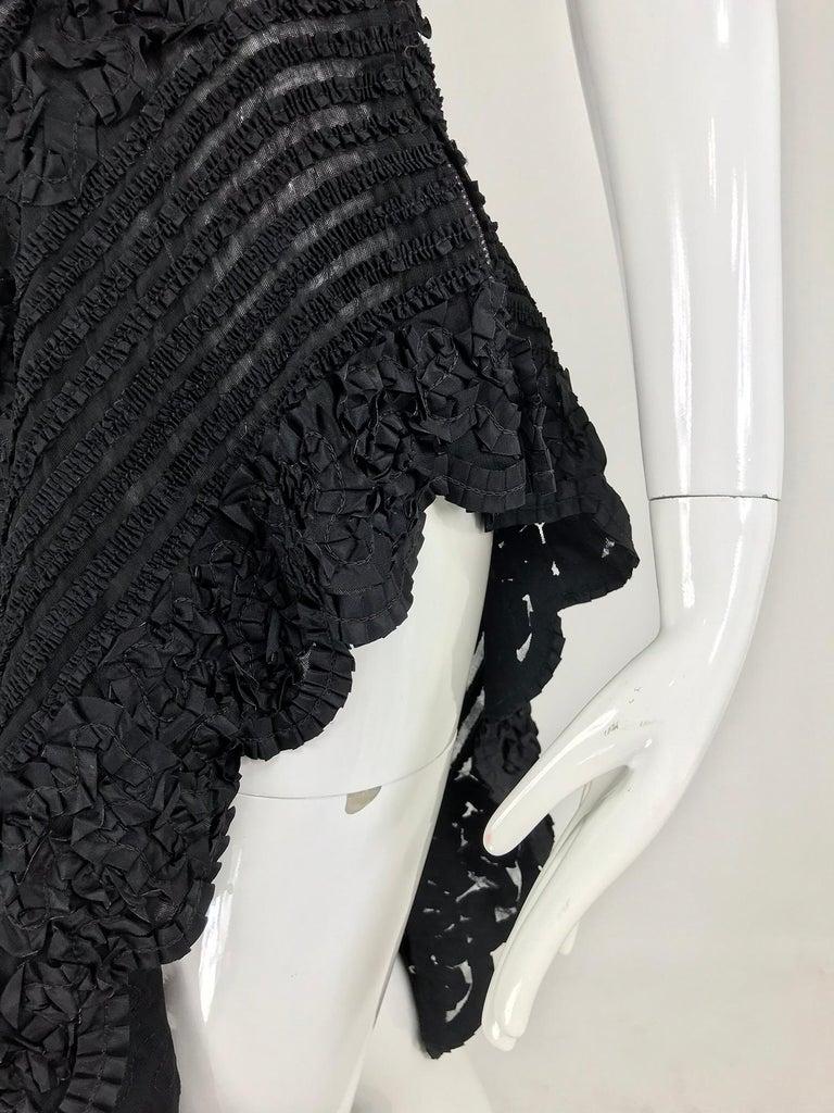 1950s Black Ribbon Work Strapless Asymmetrical Dress  For Sale 13
