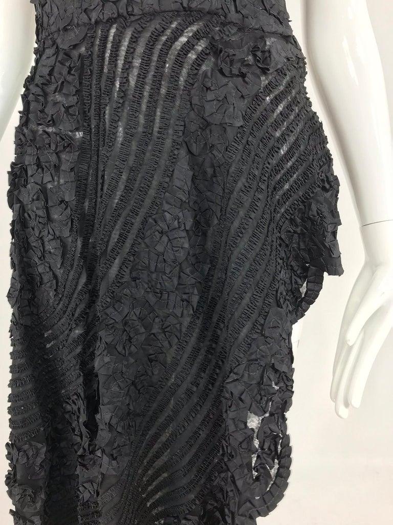 1950s Black Ribbon Work Strapless Asymmetrical Dress  For Sale 15