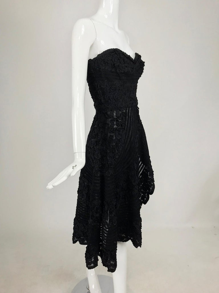 1950s Black Ribbon Work Strapless Asymmetrical Dress  In Good Condition For Sale In West Palm Beach, FL