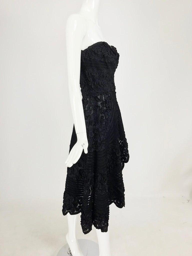 Women's 1950s Black Ribbon Work Strapless Asymmetrical Dress  For Sale