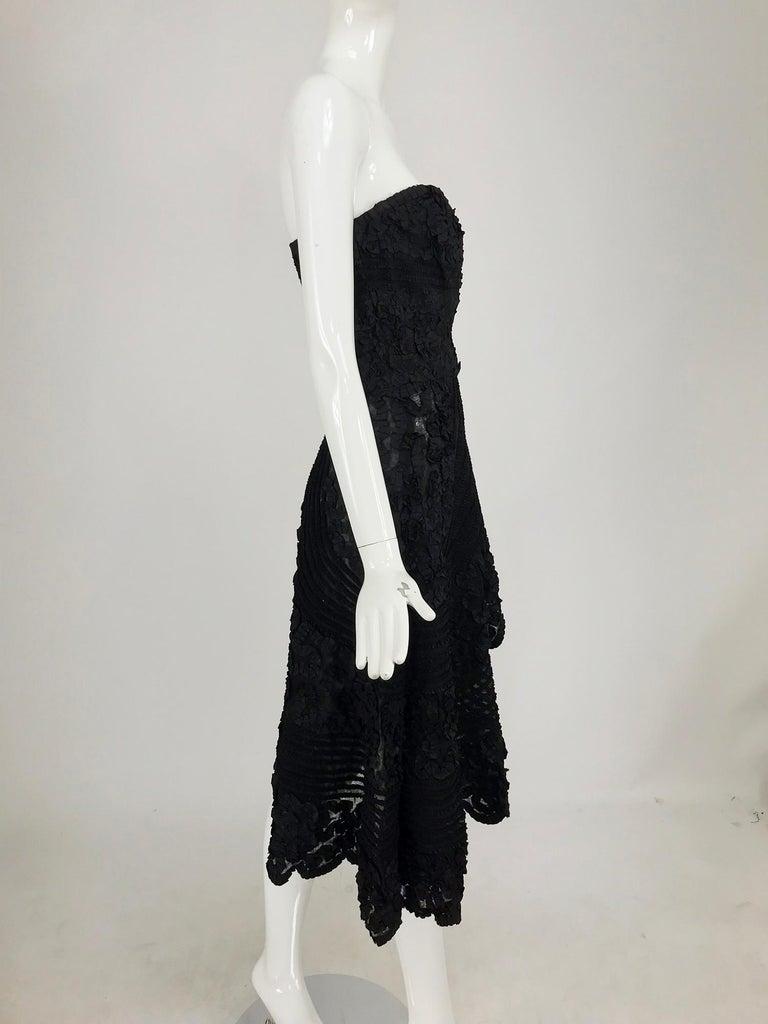 1950s Black Ribbon Work Strapless Asymmetrical Dress  For Sale 1
