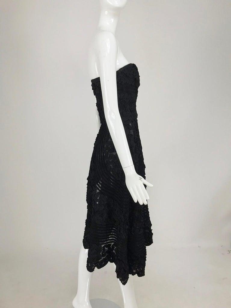 1950s Black Ribbon Work Strapless Asymmetrical Dress  For Sale 2