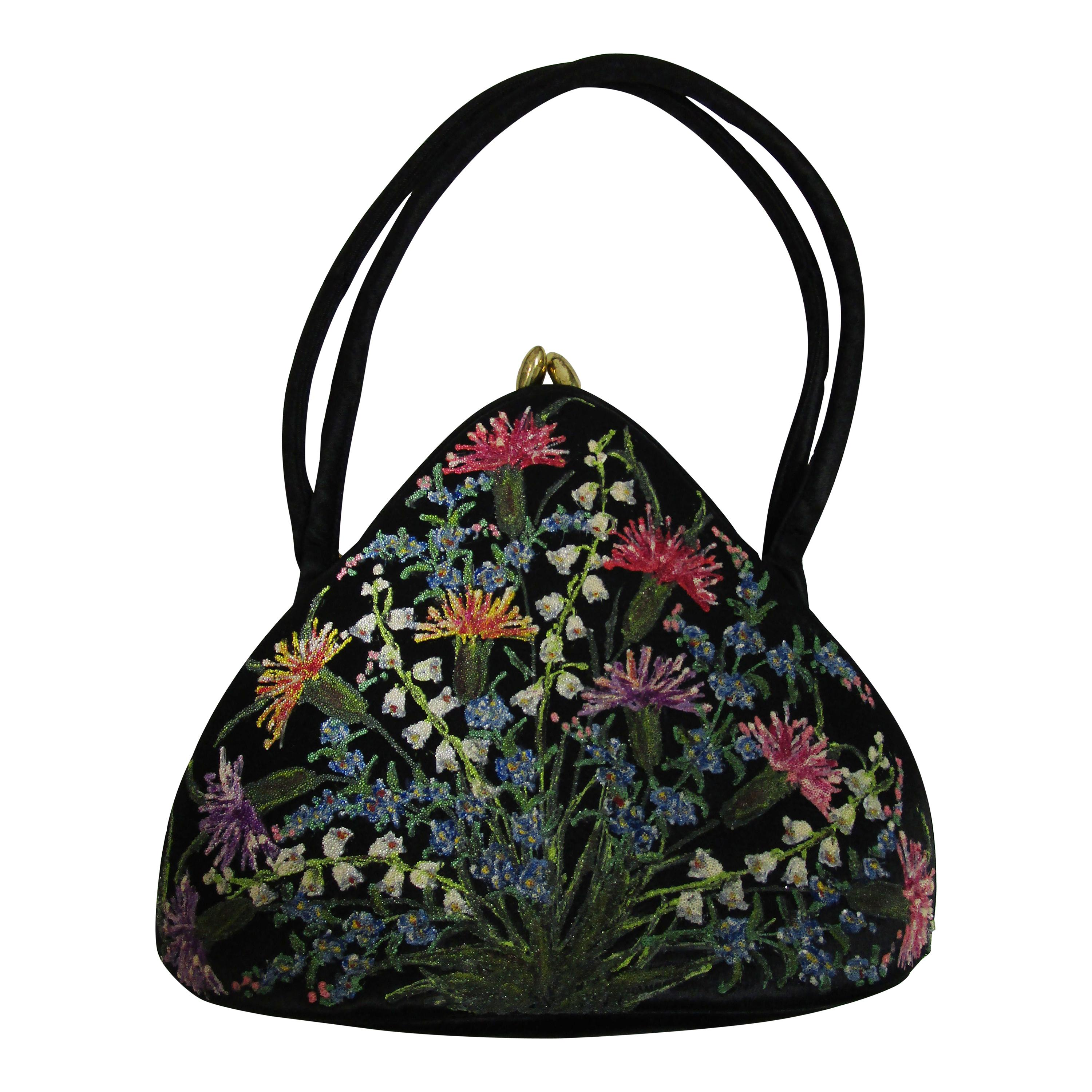 """1950's Black Satin Floral """"WaldyBag"""" Hand Painted and Beaded in England"""