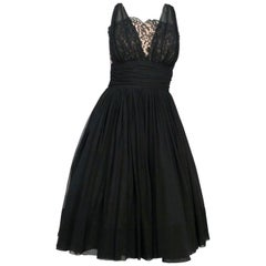 1950s Black Silk Chiffon Cocktail Dress