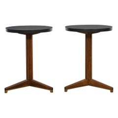 1950s Black Slate, Brown Mahogany Pair of Sidetables by Edward Wormley