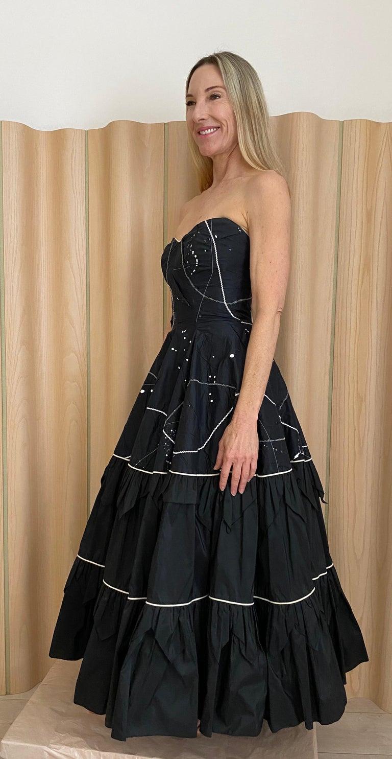Women's 1950s Black Strapless Silk Tafetta Cocktail Dress For Sale