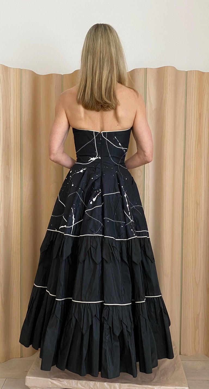 1950s Black Strapless Silk Tafetta Cocktail Dress For Sale 4