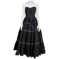 1950s Black Strapless Silk Tafetta Cocktail Dress