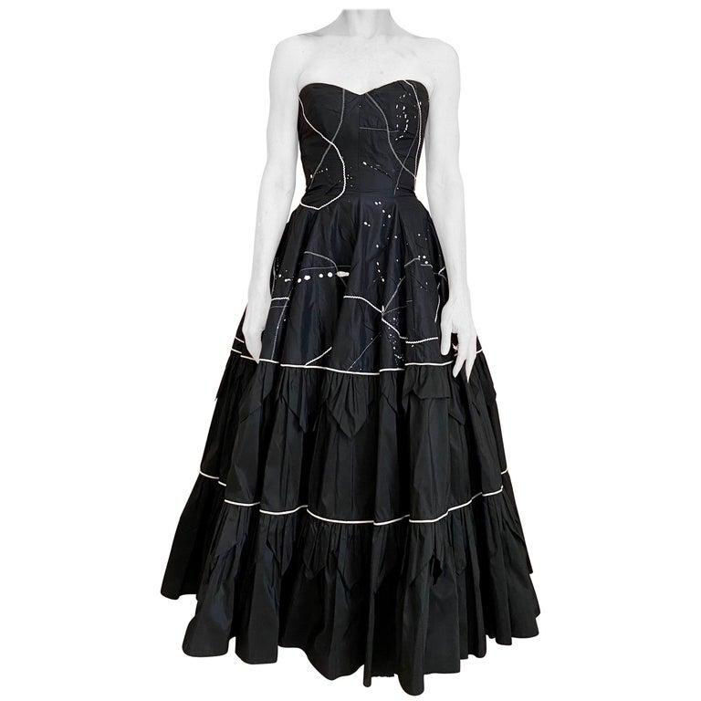 1950s Black Strapless Silk Tafetta Cocktail Dress For Sale