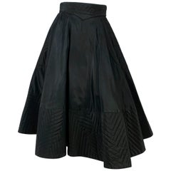 1950s Black Taffeta and Quilted Circle Skirt