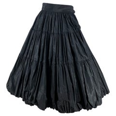 1950s Black Taffeta Balloon Skirt