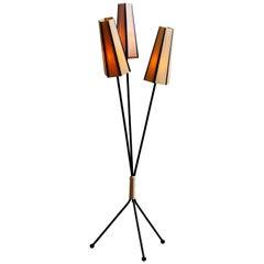 1950s, Black Three-Light Floor Lamp, Sweden