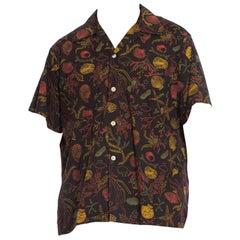 1950S Black Tropical Cotton Atomic Seashell Printed Mens Shirt