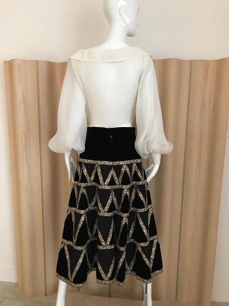 Women's 1950s Black Velvet and Gold Cocktail Skirt For Sale