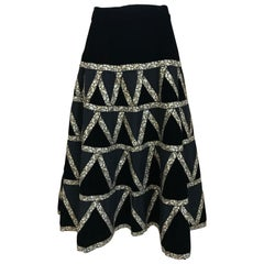 1950s Black Velvet and Gold Cocktail Skirt