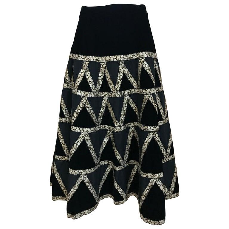 1950s Black Velvet and Gold Cocktail Skirt For Sale