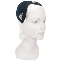 1950's Black Velvet Cocktail Hat with Rhinestone Accents