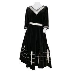 1950s Black Velvet Patio Set