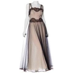 1950S Black & White Nylon And Net Maxi Slip DressNegligee