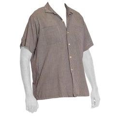 1950S Black & White Pima Cotton Micro Plaid Check Loop Button Men's Shirt