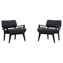 1950s Black Wooden New Upholstery Lounge Chairs by Paul Laszlo