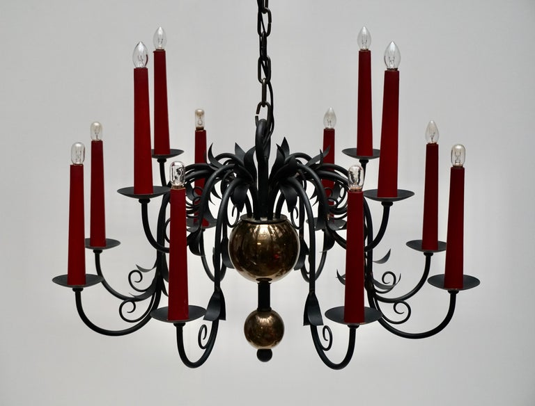 1950s Black Wrought Iron Gothic Chandelier with 12 Red Candlesticks For Sale 8