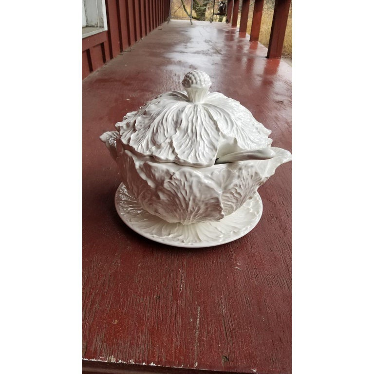 1950s Blanc De Chine Pottery Cabbage Leaf Soup Tureen With Ladle And Underplate For Sale At 1stdibs