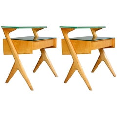 1950s Blond Wood Italian Nightstands or Side Tables with Drawers