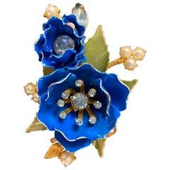 1950s Blue Enamel Flower Brooch Pin