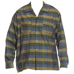1950S Blue & Green Cotton Rare XL Men's Long Sleeve Plaid Shirt