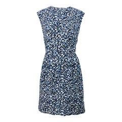 1950s Blue Grey Leopard Animal Print Vintage 50s Sleeveless Silk Sheath Dress