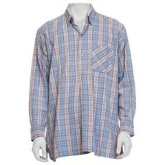1950S Blue Plaid Cotton Men's Tunic Shirt
