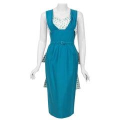 1950's Blue Polka-Dot Cotton Pique Shelf-Bust Belted Fishtail Wiggle Sun Dress