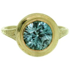 1950s Blue Quartz Handcrafted Filigree Yellow Gold Ring
